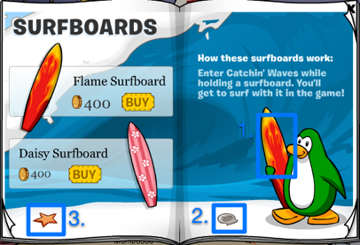 Club Penguin Silver Surfboard