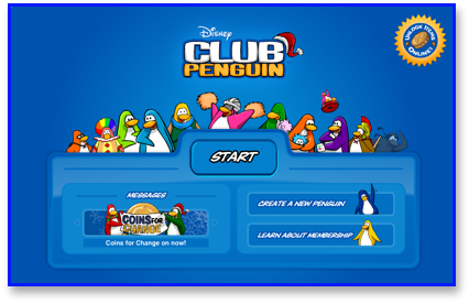 A new opening screen on Club Penguin