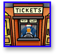 Standing behind the ticket window in Club Penguin