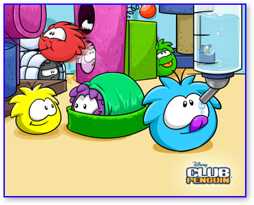 Puffles playing with their furniture