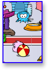 Blue Puffle playing in Club Penguin