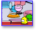 Pink Puffle on the trampoline