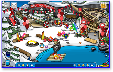 Club Penguin Puffle Party in the Cove