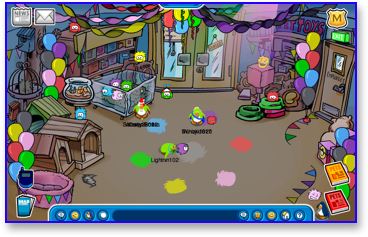 Club Penguin Puffle Party inside the pet shop