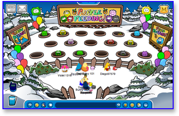 Club Penguin Puffle Party - Puffle Feeding