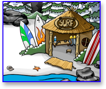 Club Penguin Surf Hut in the Cove