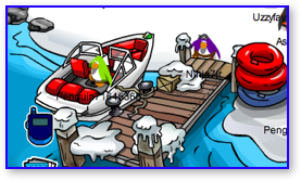 Speedboat at Dock in Club Penguin
