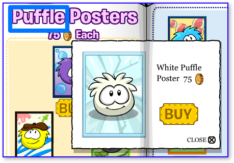 Club Penguin White Puffle Poster