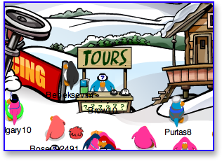 Club Penguin Tour Guide Booth in Ski Village