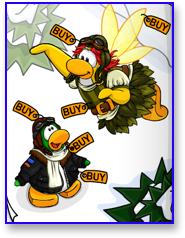 Club Penguin Flying Clothes including the pilot gear and fairy wings.