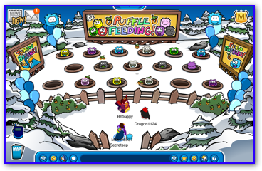Puffle feeding in Club Penguin