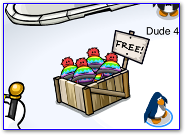 The free puffle hat box in the Plaza of Club Penguin