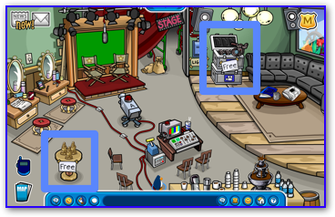 Free items backstage in Club Penguin