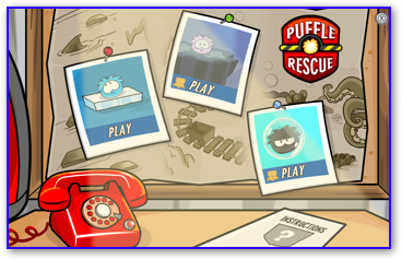 The main menu in Puffle Rescue