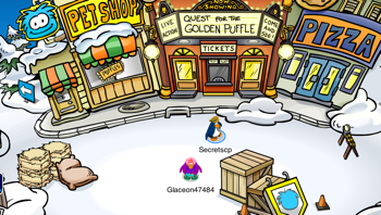Club Penguin Medieval Party Construction in Plaza