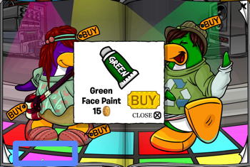 Club Penguin Green Face Paint
