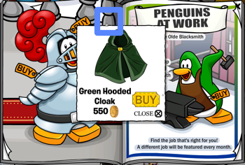 Club Penguin Green Hooded Cloak