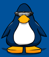 Wearing spy goggles in Club Penguin
