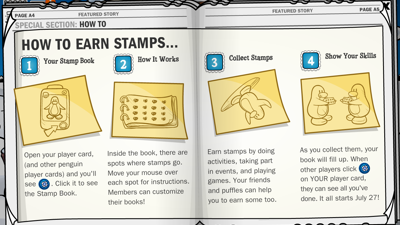 Earn stamps in Club Penguin