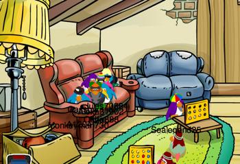 Couch in Ski Lodge Attic