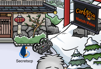 Projector at Dojo in Club Penguin