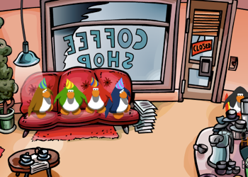 Club Penguin Party Hats in the Coffee Shop