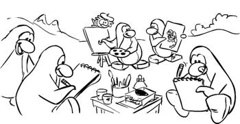 Club Penguin Art for Haiti Sketch