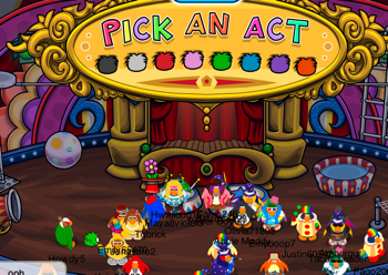 Inside the Great Puffle Circus Tent
