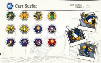 Club Penguin Cart Surfer Stamps