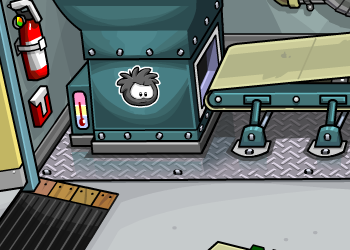 Black Puffle Pin in Recycling Plant
