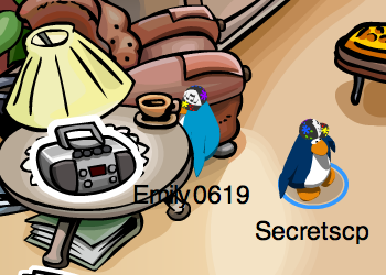 Club Penguin Stereo Pin in the Book Room