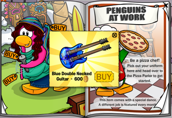Club Penguin Blue Double Necked Guitar