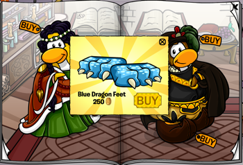 Club Penguin Catalog Jul 11 - Blue Dragon Feet
