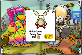 Club Penguin Catalog - White Cocoa Bunny Ears