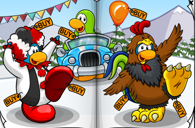 Club Penguin Clown and Chicken Outfits