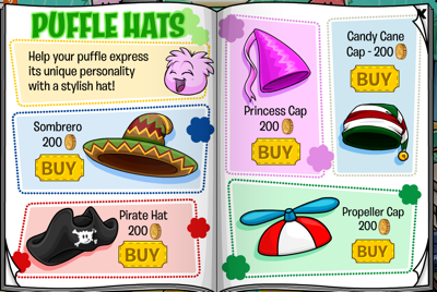 Club Penguin Puffle Hats