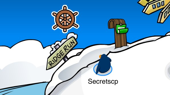 Club Penguin Helm Pin at Ski Hill