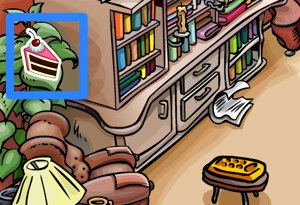 Club Penguin Cake Pin in Book Room